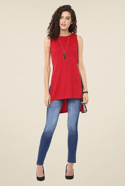 Yepme Red Polka Dot Asymmetrical Top