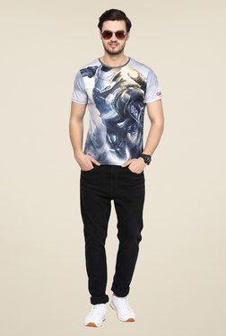 Yepme Grey Civil War Machine Graphic Print T Shirt
