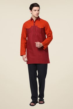 Yepme Burgundy Neiman Solid Cotton Kurta