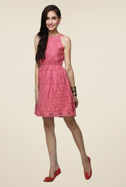 Yepme Pink Bow Eliza Lace Dress