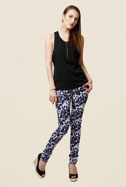 Yepme Estella Blue & White Animal Print Chinos