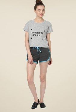 Yepme Benita Dark Grey & Blue Shorts