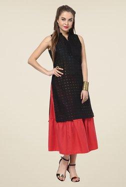 Yepme Emma Red Solid Midi Skirt