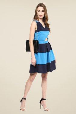 Yepme Blue& Navy Ebony Striped Skater Dress