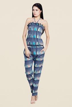 Yepme Elisha Blue Printed Jumpsuit