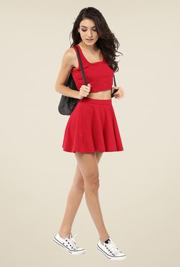 Yepme Kerli Red Dotted Skater Skirt
