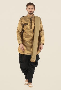 Yepme Frank Gold & Black Pathani Suit