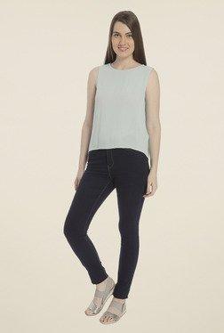 Vero Moda Light Blue Solid T-shirt