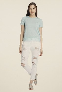 Vero Moda Light Blue Solid Polyester T-shirt