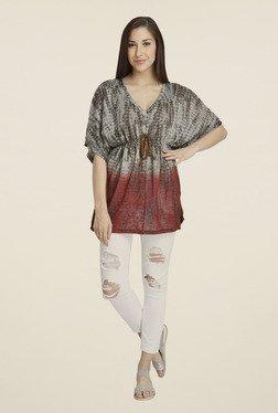 Vero Moda Grey & Maroon Printed Polyester Top