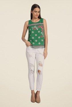 Vero Moda Green Floral Print Top