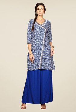 Yepme Cally Blue Floral Print Angrakha Kurti
