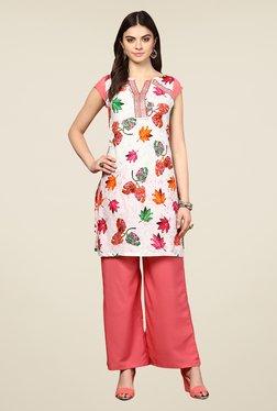 Yepme Antonia Off-white & Pink Leaf Print Kurti