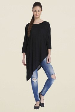 Only Black Solid Boat Neck Top
