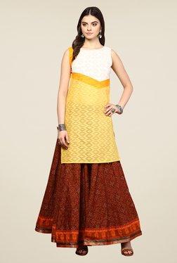 Yepme Redecca Yellow & White Color Block Kurti