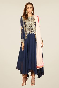 Yepme Blue & Beige Vanna Unstitched Suit Set