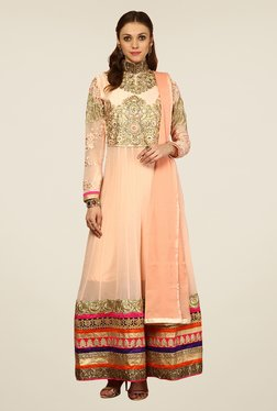 Yepme Peach Sakeena Unstitched Suit Set
