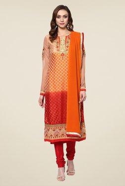 Yepme Orange & Red Ebele Semi Stitched Suit Set