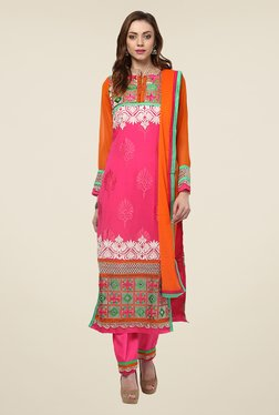 Yepme Pink & Orange Ulrika Semi Stitched Suit Set