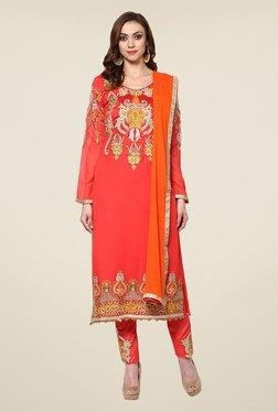 Yepme Coral & Orange Felecia Semi Stitched Suit Set