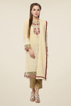 Yepme Off White Amina Semi Stitched Pakistani Suit Set