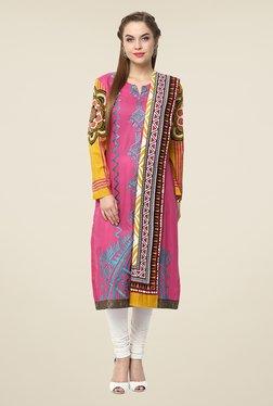 Yepme Fuchsia Nuzen Semi Stitched Pakistani Kurti Set