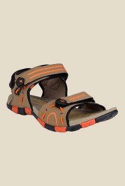 Sparx Khaki & Orange Floater Sandals
