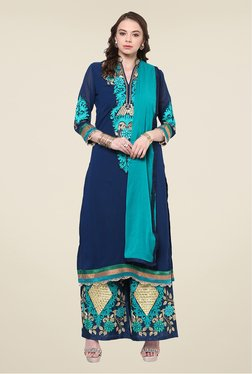 Yepme Navy Zaida Semi Stitched Suit Set