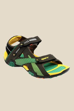 Sparx Olive & Yellow Floater Sandals - Mp000000000277592