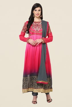 Yepme Baiely Magenta & Grey Unstitched Suit Set