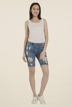 Vero Moda Dark Blue Distressed Shorts