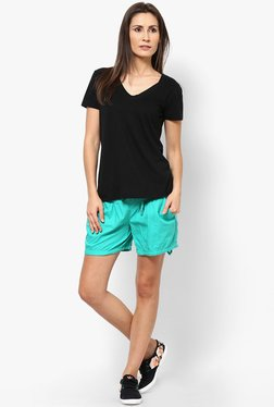 Only Turquoise Solid Shorts