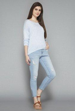 LOV By Westside Light Blue Solid T Shirt