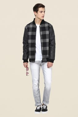 Yepme Stan Grey & Black Checked Jacket