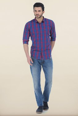 Basics Blue & Wine Red Madras Checks Slim Fit Shirt