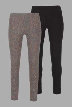Doone Grey & Black Printed Training Pants (Set Of 2)