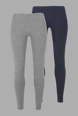 Doone Navy & Grey Solid Training Pants (Set Of 2)