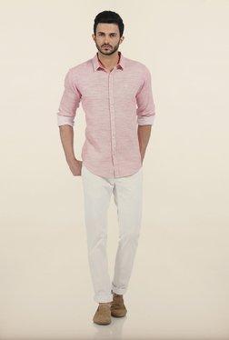 Basics Pink Yarn Dyed Dobby Slim Fit Shirt