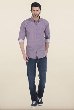 Basics Jester Red Printed Slim Fit Shirt