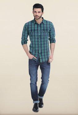 Basics Deep Mint Tartan Yarn Dyed Checks Slim Fit Shirt