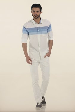 Basics Ice Blue Weft Striped Oxford Slim Fit Shirt