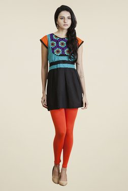 Yepme Black & Turquoise Angelica Kurti Set