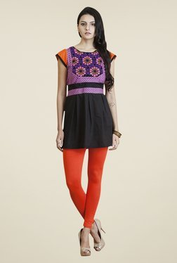 Yepme Black & Purple Angelica Kurti Set