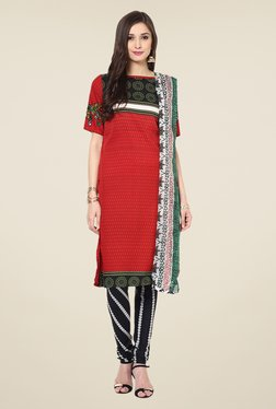 Yepme Red & Black Priska Salwar Suit Set