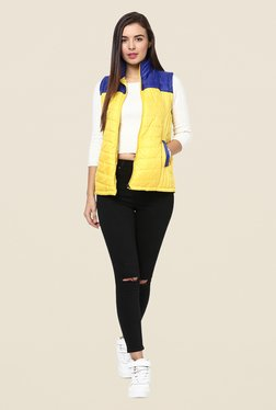 Yepme Yellow & Blue Carice Sleeveless Jacket