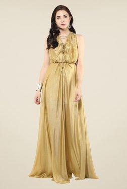 Yepme Gold Tie-up Maxi Dress