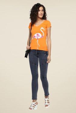 Yepme Orange Flamingo Graphic Print Top