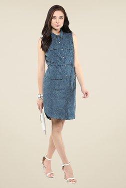 Yepme Blue Polka Dot Shirt Style Dress