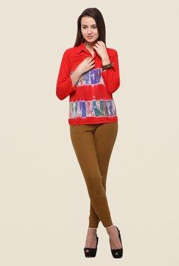 Yepme Red Krystal Shirt Style Top