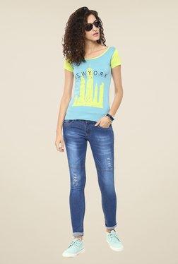 Yepme Blue Dynah Distressed Denim Jeans